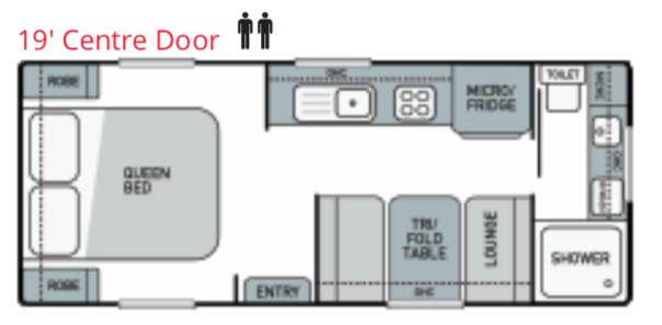 Trackvan by Millennium Caravans - Layout - 19' Centre Door