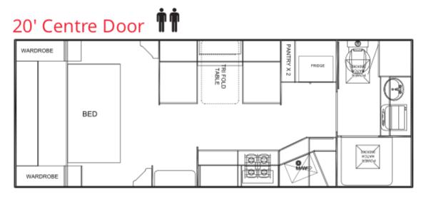Trackvan by Millennium Caravans - Layout - 20' Centre Door