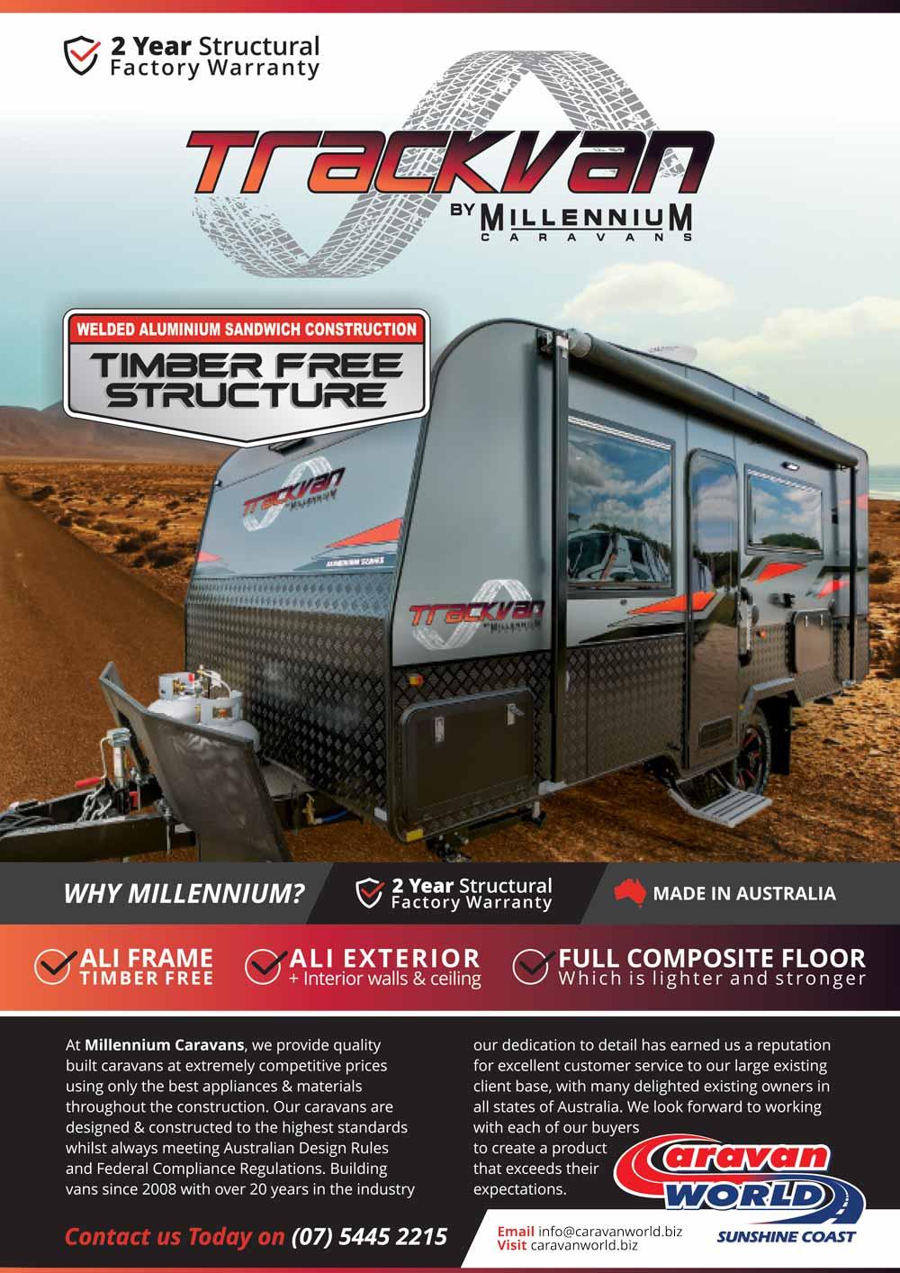Trackvan by Millennium Caravans - Brochure Front Page